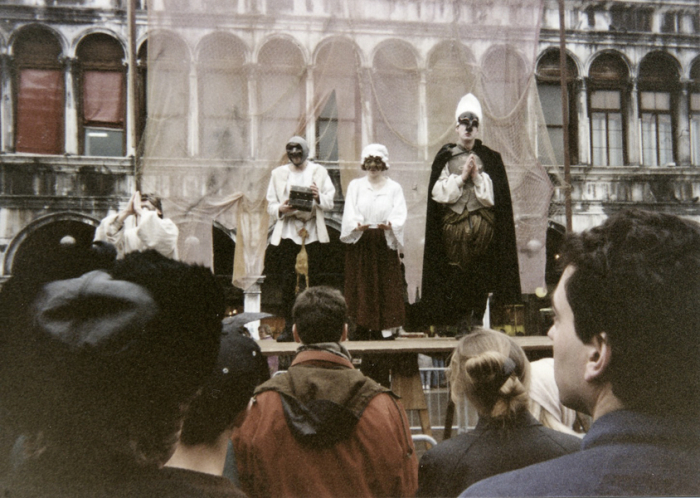Performing in St Marks Square at Venice Carnival